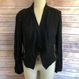WHBM Long Sleeve Linen Black Motorcycle Jacket